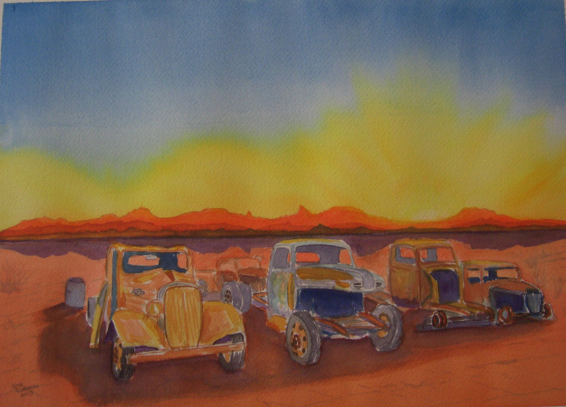 Desert Junk Yard, 10x14 watercolor, completed aug 27  2013 CIMG8967ss