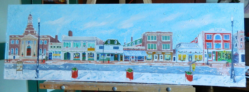 Main Street  12x36, oil, a few last touches, completed jan 27, 2013  DSCN2008sm