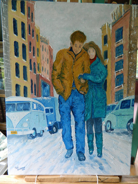 sm1223  Freewheelin' Bob Dylan and Suze Rotolo, 18x24 oil, completed june 7, 2012 DSCN1223