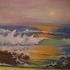 Sunset Surf, dec 1962, oil, 16x12