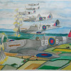 Spitfires  41st RAF Squadron, watercolor, 15x22, aug 6, 2012  finished  DSCN1378ss