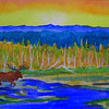 Adk Moose, watercolor, 4x6, may 21, 2013 CIMG8682