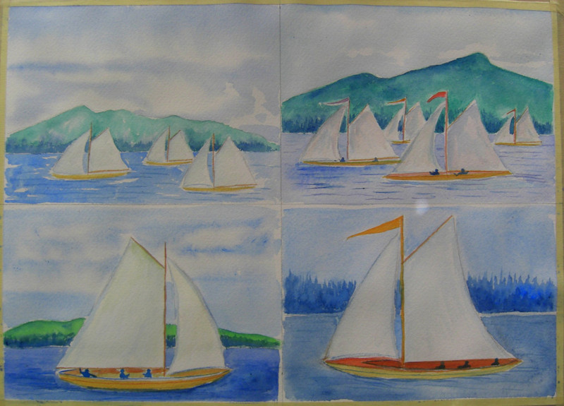 Idem Sailboats on Upper St Regis, 5x7 watercolors, july 31, 2013 CIMG8870ss