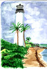 Lighthouse with palm trees