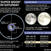 "SCIENCE-MOON/ - Diagram explaining next Saturday's ""supermoon"" event where the moon will make its closest approach to Earth in 18 years. RNGS. (SIN05)"