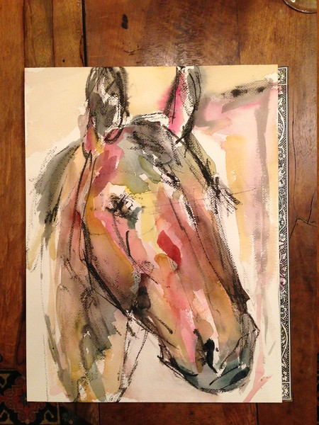"""Warmblood Head""- chinese ink block and watercolor on arches"