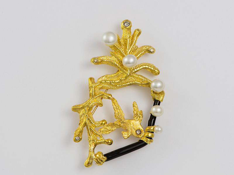 handmade coral reef brooch, argyle diamonds, seedless Broome pearls, native gold (22ct) natural black coral, 18cty brooch
