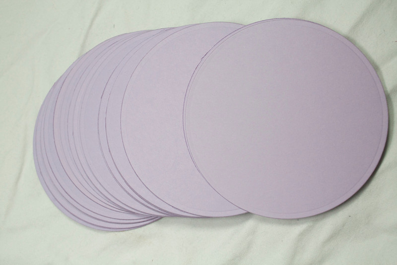 "3 1/2"" Round Circular tags with embossed edge. Set of 50. Wausau Papers, Exact Vellum Bristol/Cover Stock.  80 lb.  Color: Lavender.  One Set available, $4"