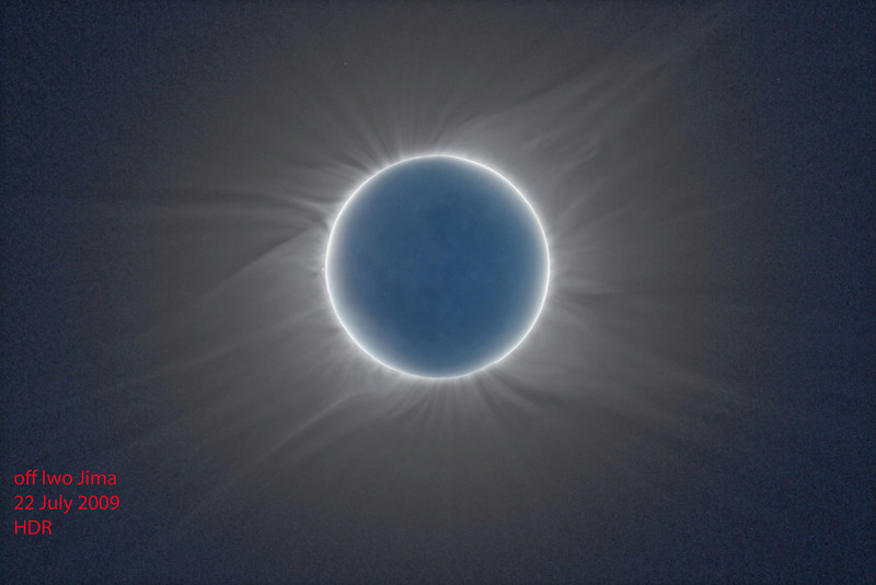 High Dynamic Range composite made from 16 images taken during the July 11, 2010 solar eclipse on Easter Island. An exposure of the moon with light reflected from the earth (earthshine) is overlaid. The image was made using Photomatix Pro 3.2 and Adobe Photoshop CS5.