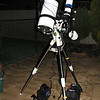 "Borrowed 8"" f/4 Newtonian with Cereal packet dew shield - 14/04/2012<br /> <br /> In the research for an additonal telescope with longer focal length and more light grasp, Stephen Boyd loaned me an f/4 imaging Newtonian. Here it is atop my NEQ6 with my ST80 guidescope for its second test, this time with a hastily manufactured dew shield made from a couple of cereal boxes following my first session on the prior night that resulted in fogging of the secondary mirror.<br /> <br /> Telescope - Bintel BT200 f/4.0 Newtonian with no Coma corrector (borrowed from Stephen Boyd), Hutech IDAS LPS-P2 filter, Canon 400D DSLR, Ambient 15C. Mount - Skywatcher NEQ6 Pro. Guidescope - Orion ShortTube 80 with Star Shoot Auto Guider.<br /> <br /> The combination of this OTA with the 400D gives a 64' x 95' field"