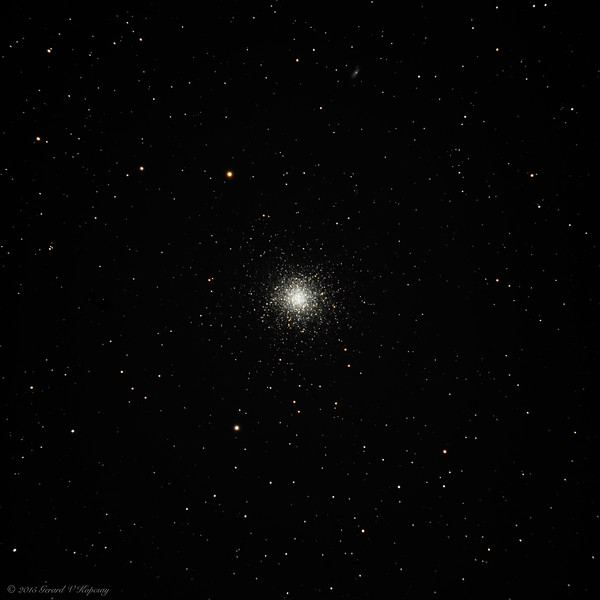M13, the Great Globular Cluster in Hercules, 6/26/2015. Taken with Nikon D800E mounted on Sky-Watcher 120 mm f/7 telescope at about 840 mm focal length. A stack of 11 photos, each 2 minutes long at ISO 800,  was processed using PixInsight and Photoshop.
