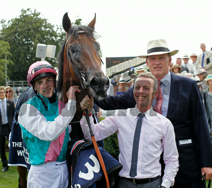 Racing from Goodwood 30/7/14. The QUIPCO Sussex Stakes.<br /> Kingman with jockey James Doyle and trainer John Gosden