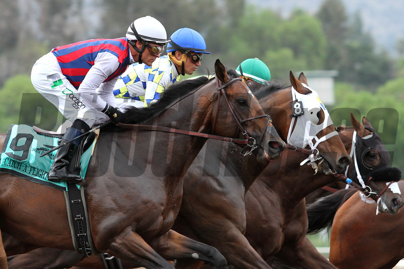 CATCH A FLIGHT with Gary Stevens and MORENO with Cornelio Velasquez, at the break of the G1 GOLD CUP at Santa Anita 06.27.15. Photo by Helen Solomon