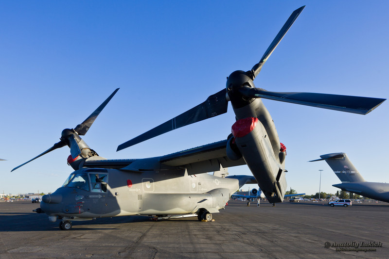 SACRAMENTO, CA - SEPT 8: USAF Bell-Boeing V-22B Osprey on display during California Capital Airshow on September 8, 2012 at Mather Airport, Sacramento, CA.