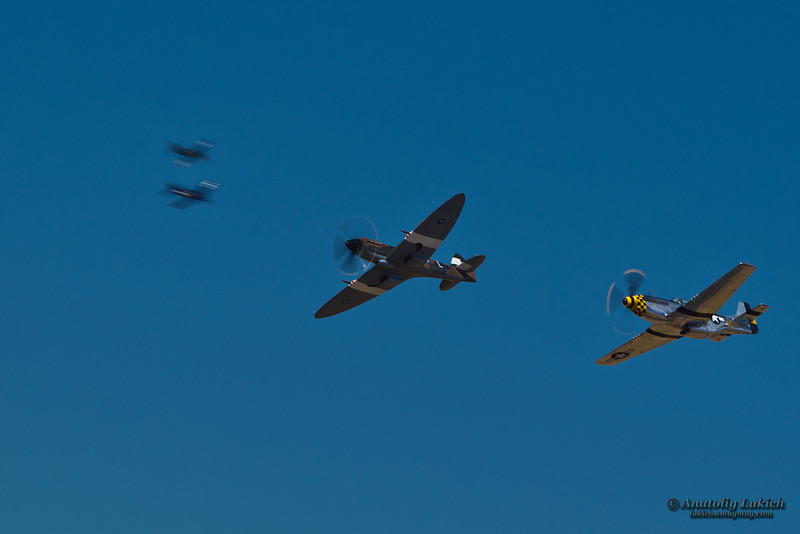 SACRAMENTO, CA - SEPT 8: Commemorative Air Force Supermarine 379 Spitfire FR14 and P-51 Mustang World War II aircrafts on display during California Capital Airshow on September 8, 2012, Sacramento, CA.