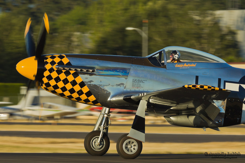 HILLSBORO, OR - AUG 3: Eddie Andreini demonstrates his P-51D Mustang during Oregon Air Show at Hillsboro Airport on August 3, 2012 in Hillsboro, OR.