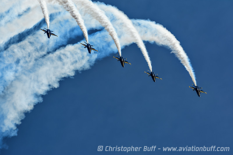 The Blue Angels perform the challenging Line-Abreast Loop