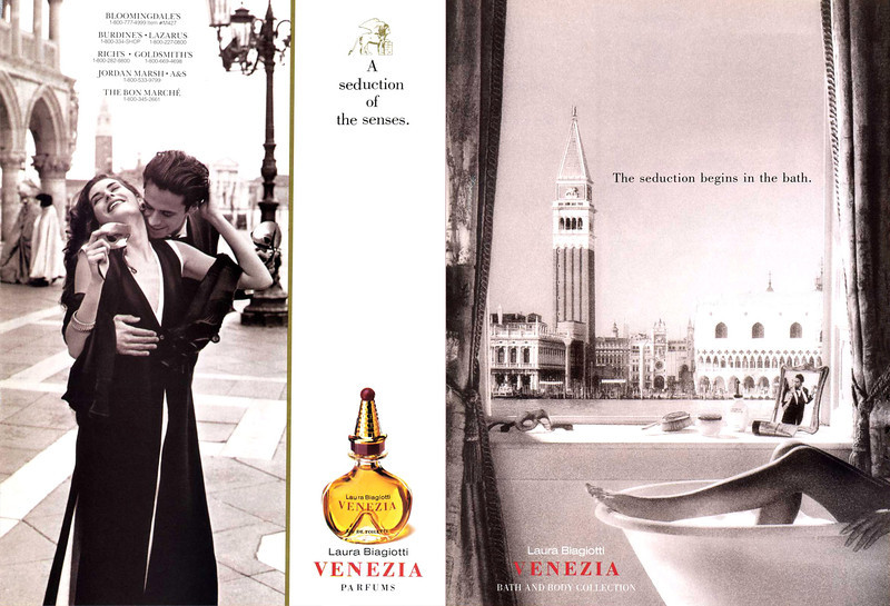 LAURA BIAGIOTTI Venezia 1992 US (recto-verso with scented strip) with 5 lines of outlets  'A seduction of the senses - The seduction begins in the bath'