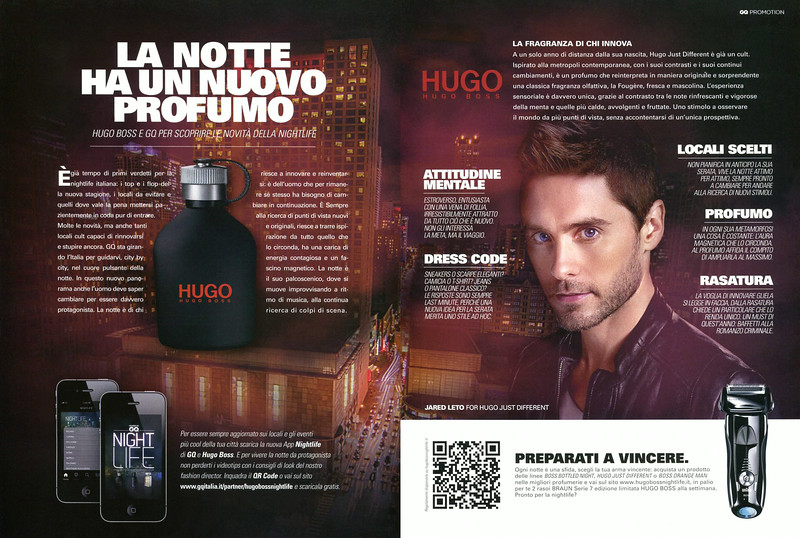 BOSS Hugo Just Different 2012 Italy spread 'La notte ha un nuovo profumo - Hugo Boss e GQ per scoprire le novità nella nightlife'