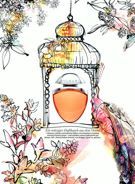 BULGARI Omnia Indian Garnet 2014 Germany (advertorial Maxi) 'Ein würziger Dufthauch aus dem Orient' ILLUSTRATOR Claudia Klein