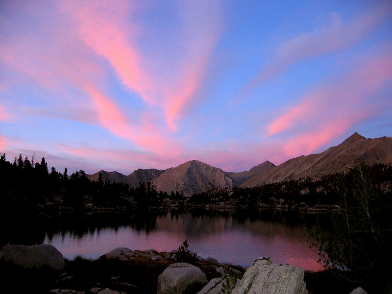 Sunset from Campsite in 60 Lake Basin