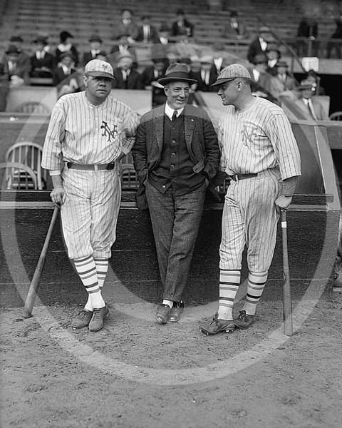 Babe Ruth & Jack Bentley in Giants uniforms for exhibition game; Jack Dunn in the centre. October 1923