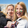 March 16, 2014 -Brianna Sessa, right, and Michaela Barry, left, celebrate near Andrew Station at the St. Patrick's Day parade in South Boston. Photo: Carolyn Bick/BU News Service.