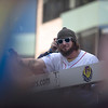 November, 2, 2013, BOSTON- Jarrod Saltalamacchia reacts the crowds when his duck bus in the Red Sox World Series victory parade crosses the Boston Marathon finish line. to Photo by KIva Kuan Liu