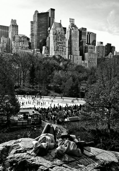 Wollman Rink in Central Park on a warm day in NYC