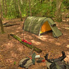 Here is my pretty little tent in camp by Wildcat Falls.