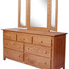 Shaker Dresser in Medium Oak, With Added Mirror (corner view)