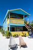 A colorful beach cottage at the Colinda Cabanas resort on the island of Caye Caulker, Belize.