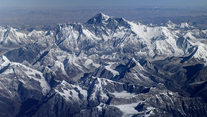 Mount Everest from South, vue to the Tibetan Plateau, seen from Drukair flight Delhi India - Paro Bhutan