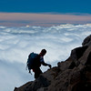 Above the clouds, ascent of Mt. Taranaki, Taranaki National Park, New Zealand