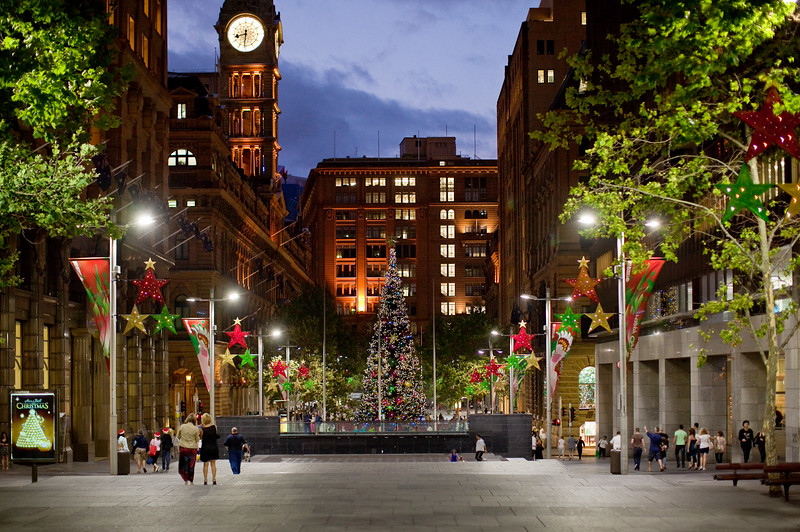Sunset on Martin Place  at Christmas