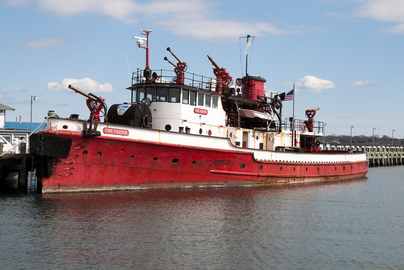 The FDNY fireboat Fire Fighter docked in Greenport, NY for restoration.