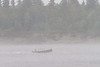 Canoe in front of Butler Island in fog on the Moose River.