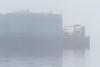 Barge stern on a foggy morning in Moosonee.