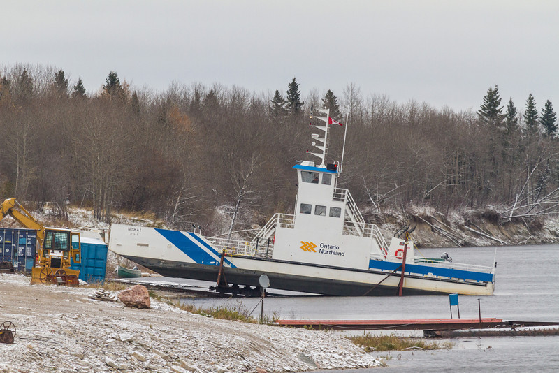 Ontario Northland barge Niska I heads up the marine railway in Moosonee into winter storage.
