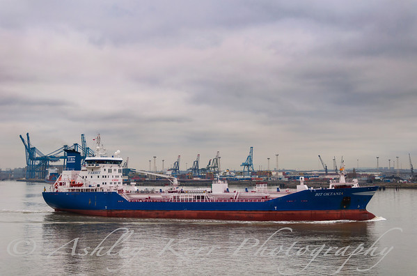BIT OKTANIA (Chemical/Oil Tanker 13,602 tonnes, built year 2004) Tilbury, river Thames, England. December 2007.