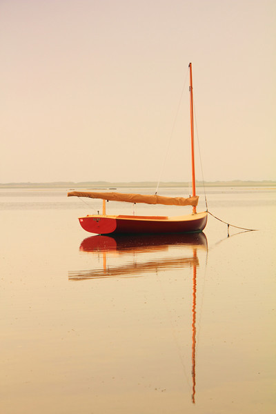 Red Catboat and Hazy Harbor, Provincetown, Cape Cod