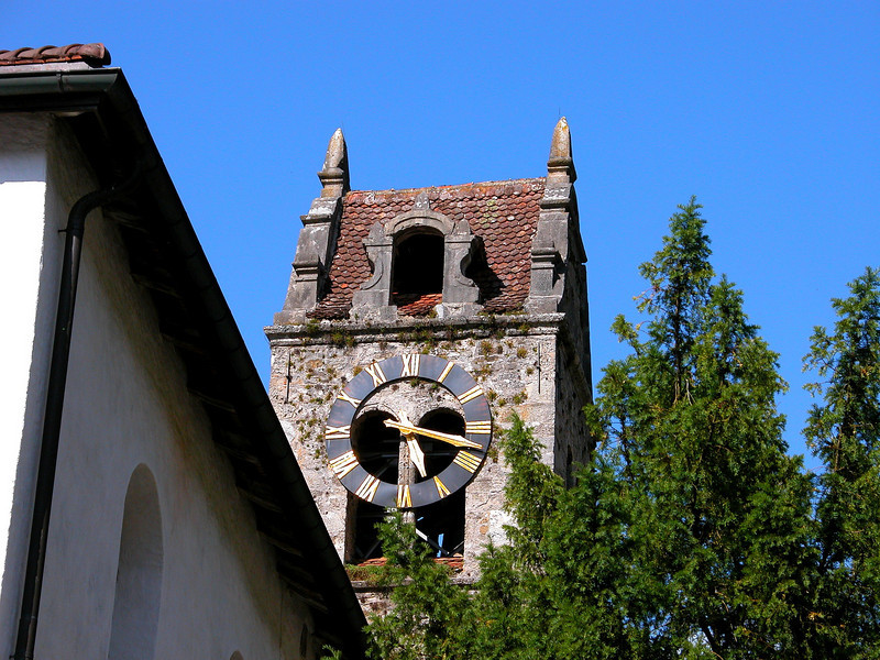Protestant Church Tower in Wilderswil, Switzerland