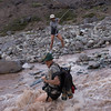 Crossing a river in the upper Juncal Valley