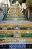 The Grand Staircase of the selaron stairs of colorful ceramic tile in the Santa Teresa district of Rio de Janeiro, Brazil.