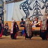 Potlatch ceremonial dance at the Big House in Alert Bay, Canada
