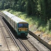 South West Trains ex-Southern class 456 units (456017/005), still in Southern green livery, head towards Ash Station with 2N32 (1102 Guildford-Ascot service) - 25 June 2014.