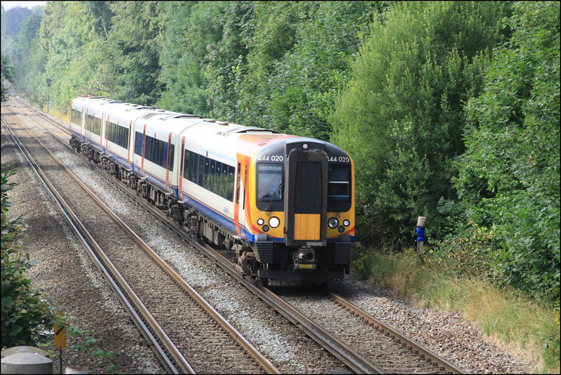 South West Trains class 444 unit (444020) heads into Milford with 2P30 (0919 Portsmouth Harbour-London (Waterloo) semi-fast service) - 21 July 2014.