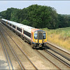 Two South West Trains class 444 units (444012 & 444032) form 1B26 (0755 service from Poole) as it speeds past Pot Bridge, near Winchfield, on its way to London (Waterloo) - 23 July 2014.