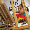 "Salisbury: Safia Cherqoui, 9, of Newburyport paints an ocelot from a photo in the art room at the Boys and Girls Club in Salisbury. She was in the girls only class ""Power of Paint"" with counselor Kandace Demers where the talk about self esteem and other issues and then spend time painting. Bryan Eaton/Staff Photo"