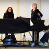 "Newburyport: Amy LeJeune, left, and Ann Ormond rehearse their songs for ""Variety Tonight"" with Evelyn Mann on piano. Bryan Eaton/Staff Photo"